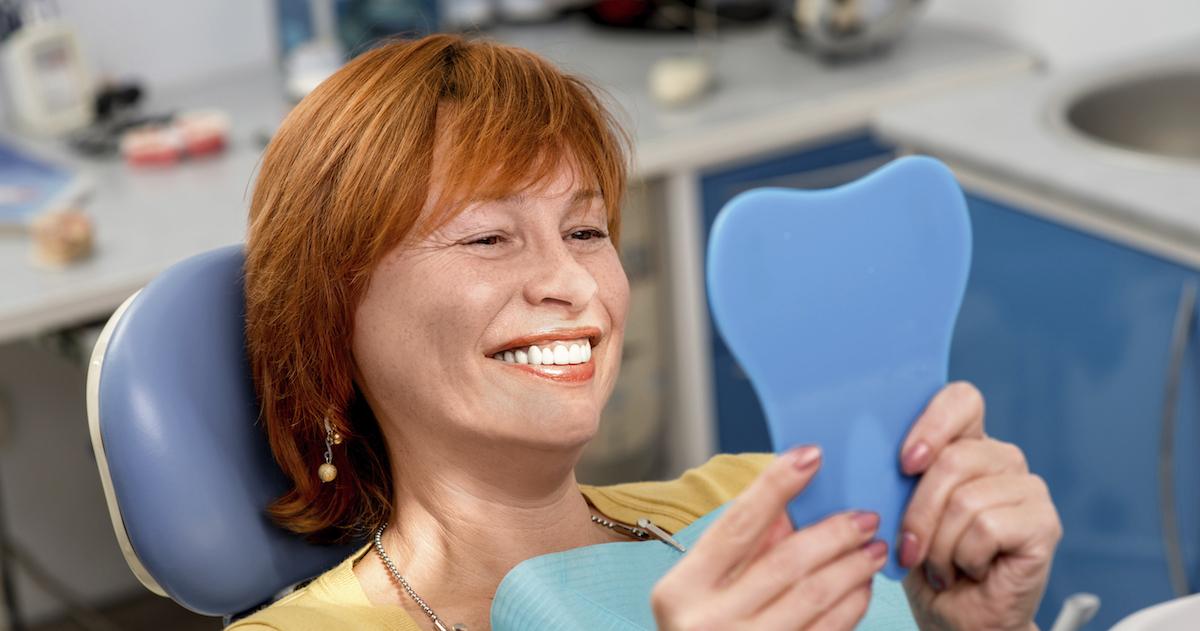 Senior woman in the dental office.